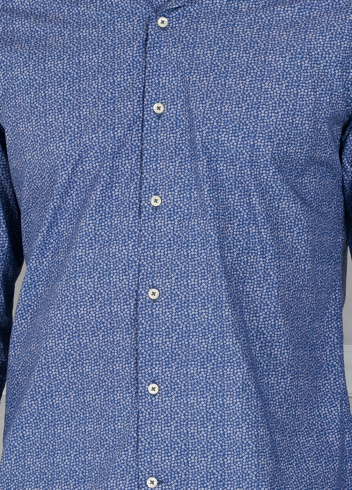 Camisa Leisure Wear SLIM FIT modelo PORTO micro dibujo color azul. 100% Algodón. - Ítem2