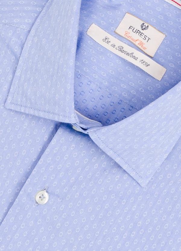 Camisa Casual Wear SLIM FIT Modelo PORTO micro dibujo color azul. 100% Algodón. - Ítem1