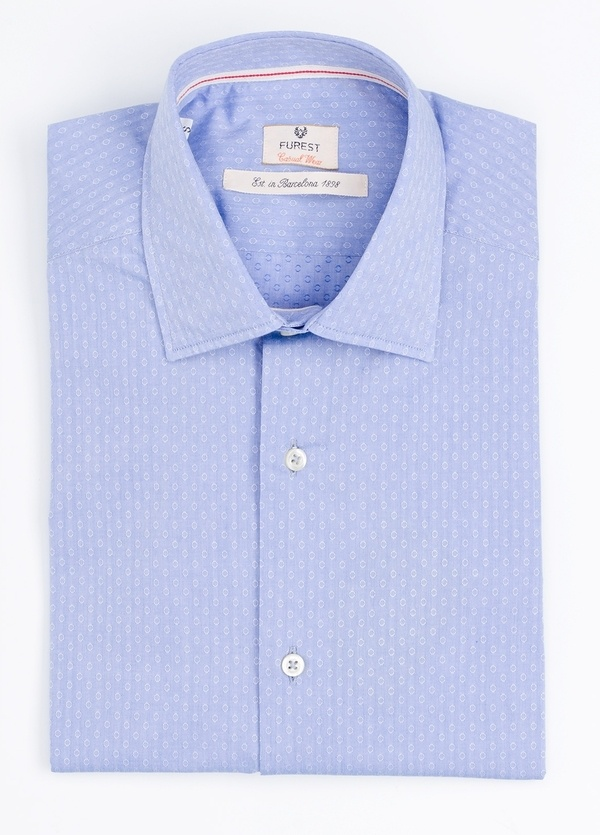 Camisa Casual Wear SLIM FIT Modelo PORTO micro dibujo color azul. 100% Algodón.