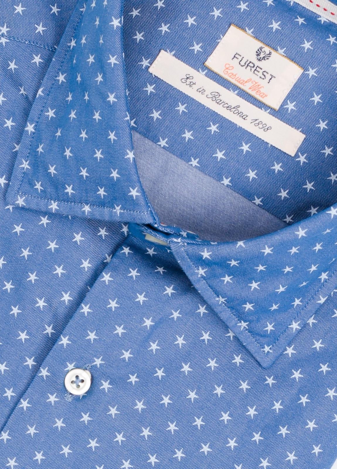 Camisa Casual Wear SLIM FIT Modelo PORTO estampado estrellas color azul denim. 100% Algodón. - Ítem1