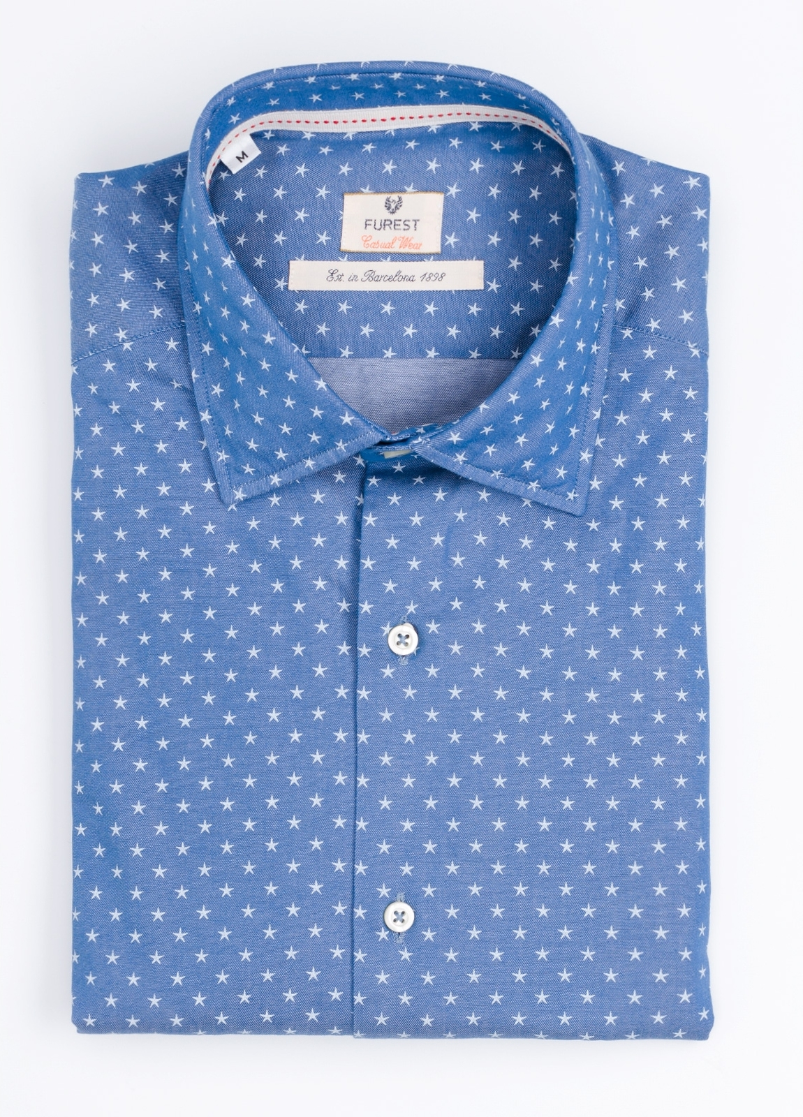 Camisa Casual Wear SLIM FIT Modelo PORTO estampado estrellas color azul denim. 100% Algodón.