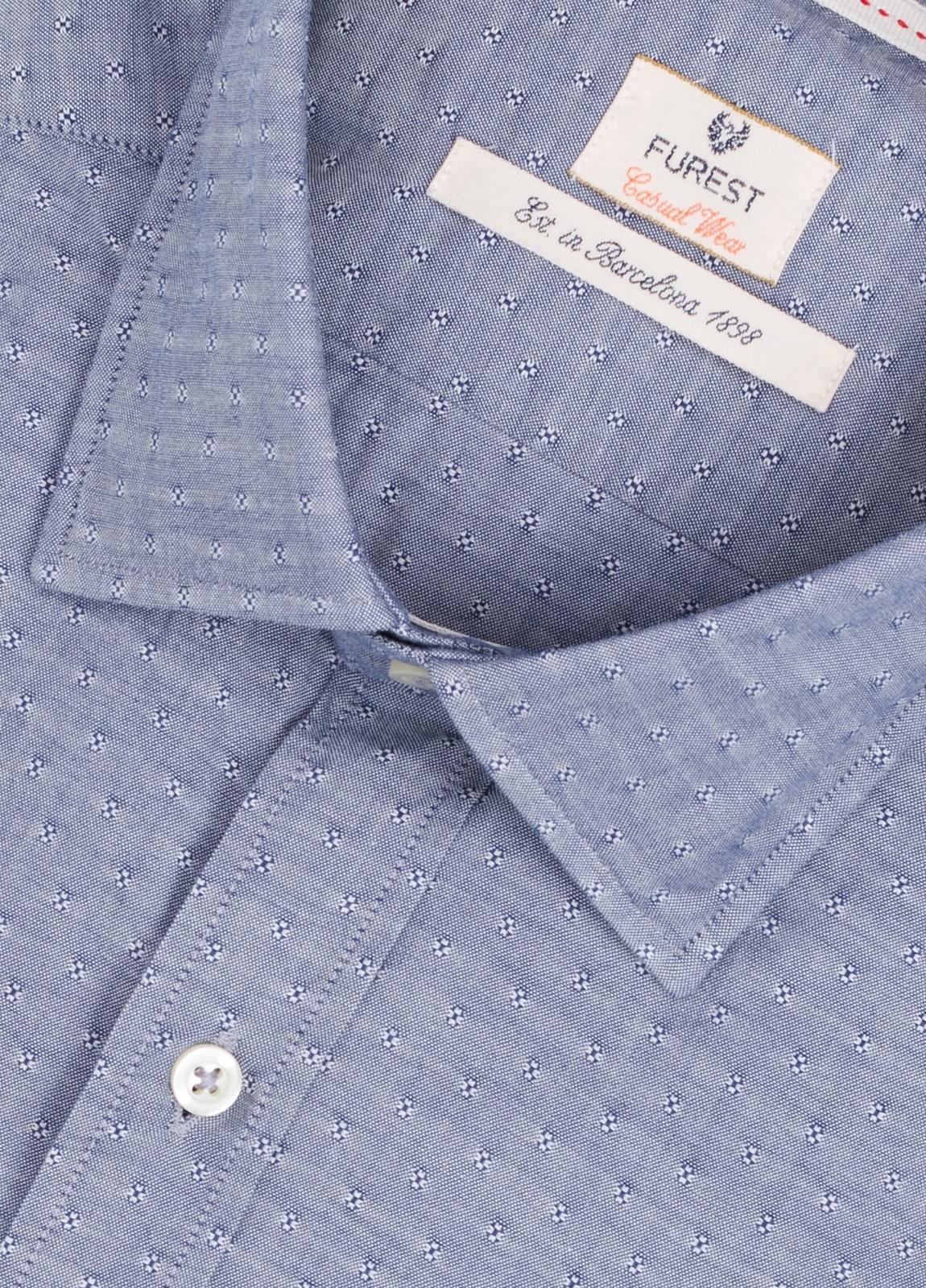 Camisa Casual Wear SLIM FIT Modelo PORTO microdibujo color azul. 100% Algodón. - Ítem1