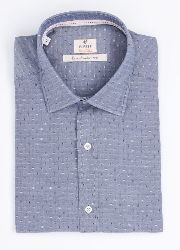 Camisa Casual Wear SLIM FIT Modelo PORTO microdibujo color azul. 100% Algodón.