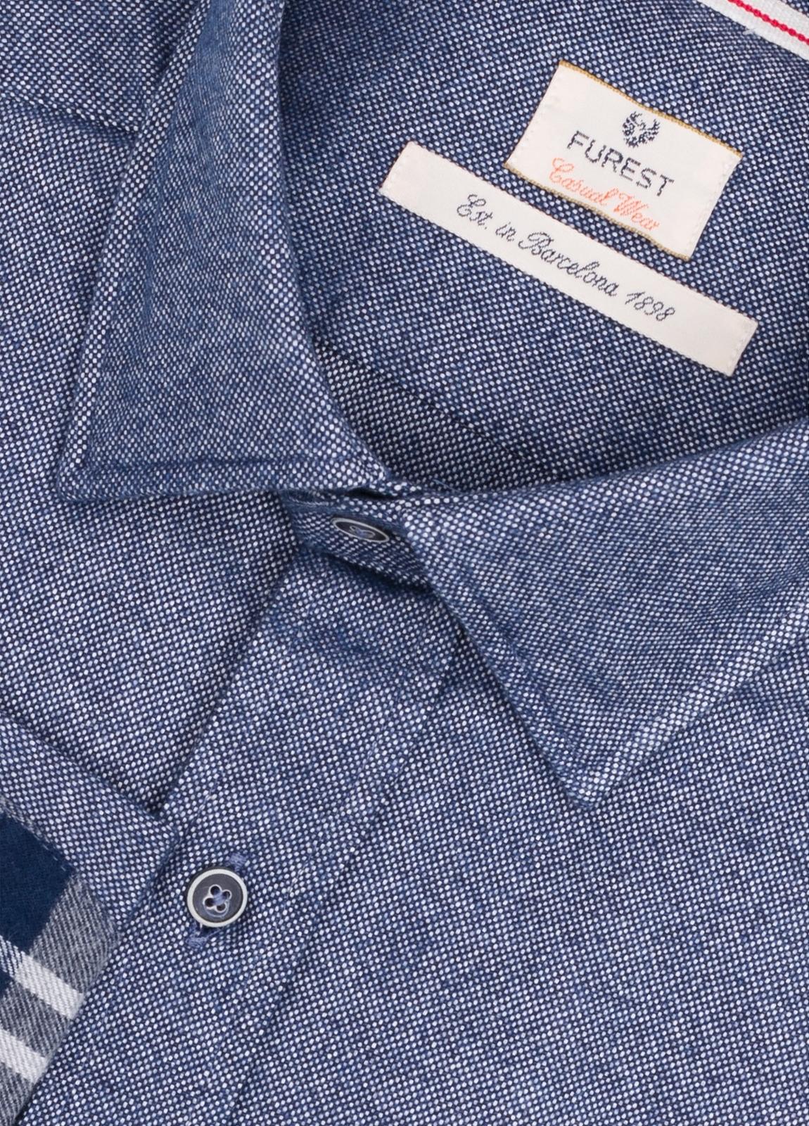 Camisa Casual Wear SLIM FIT Modelo PORTO, oxford color azul marino con coderas en contraste. 100% Algodón. - Ítem1