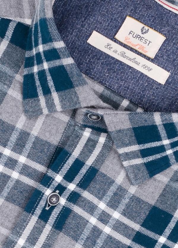 Camisa Casual Wear SLIM FIT Modelo PORTO maxi cuadros color azul con bolsillo en pecho. 100% Algodón. - Ítem1