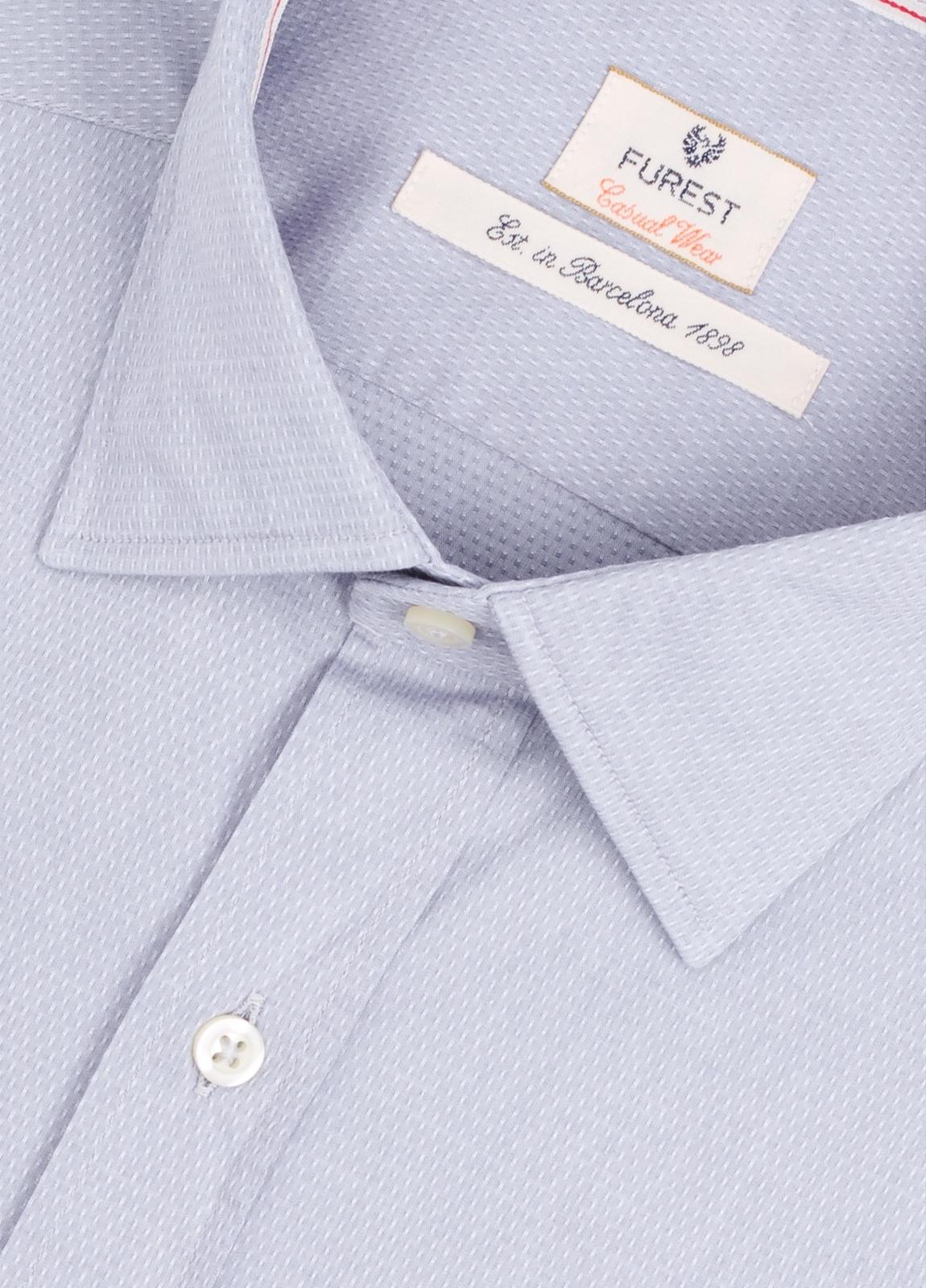 Camisa Casual Wear SLIM FIT Modelo PORTO micro textura color gris. 100% Algodón. - Ítem1