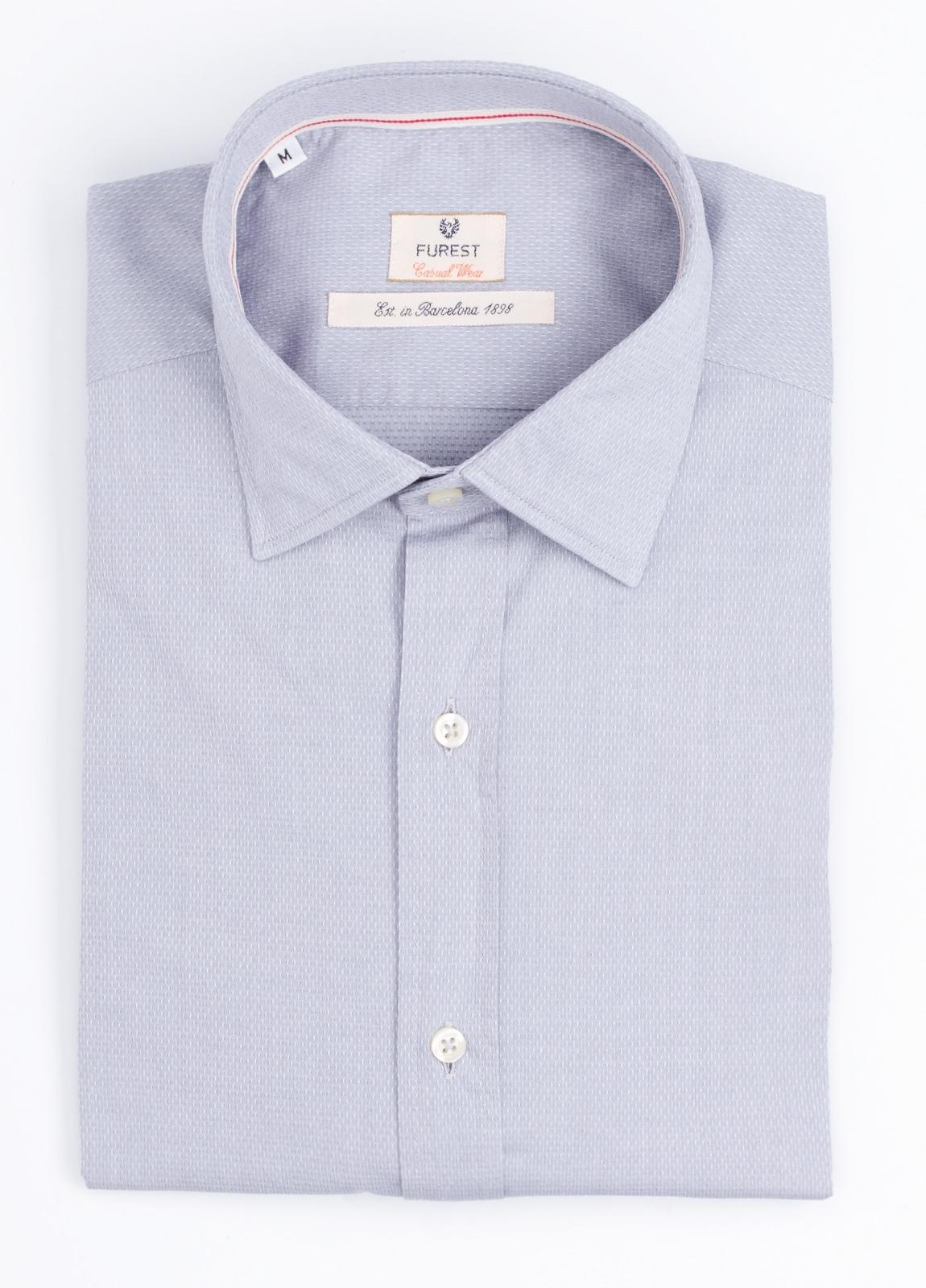 Camisa Casual Wear SLIM FIT Modelo PORTO micro textura color gris. 100% Algodón.