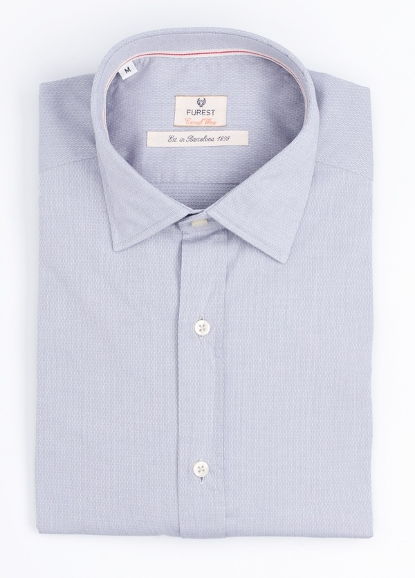 Camisa Casual Wear SLIM FIT Modelo PORTO micro textura color gris. 100% Algodón.