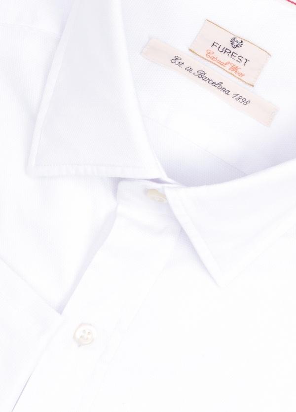 Camisa Casual Wear SLIM FIT Modelo PORTO micro grabado color blanco. 100% Algodón. - Ítem1