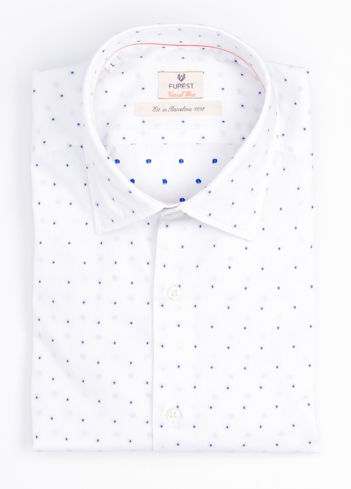 Camisa Casual Wear SLIM FIT Modelo PORTO microdibujo color blanco. 100% Algodón.