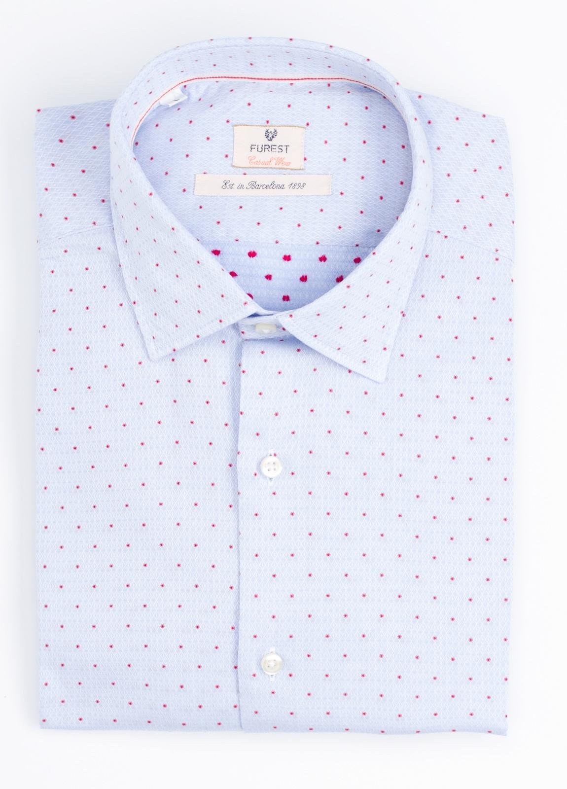 Camisa Casual Wear SLIM FIT Modelo PORTO micro dibujo color azul. 100% Algodón.