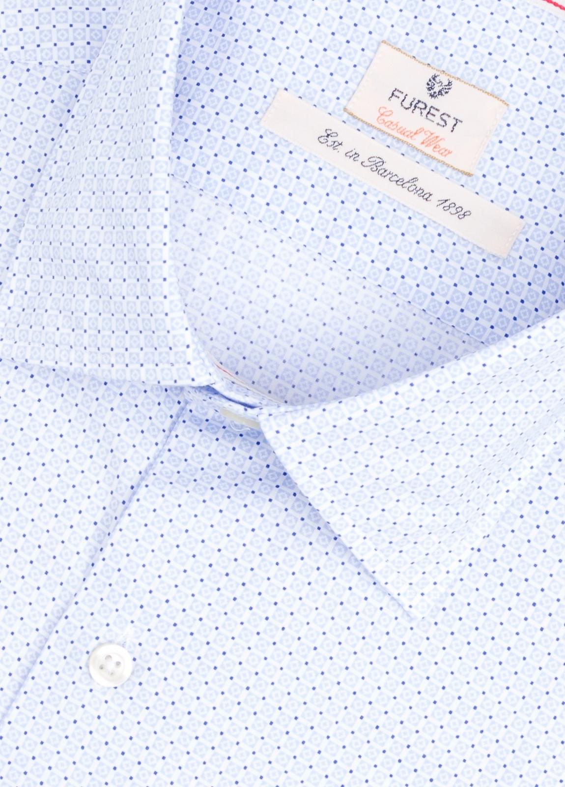Camisa Casual Wear SLIM FIT Modelo PORTO microdibujo color azul.100% Algodón. - Ítem1