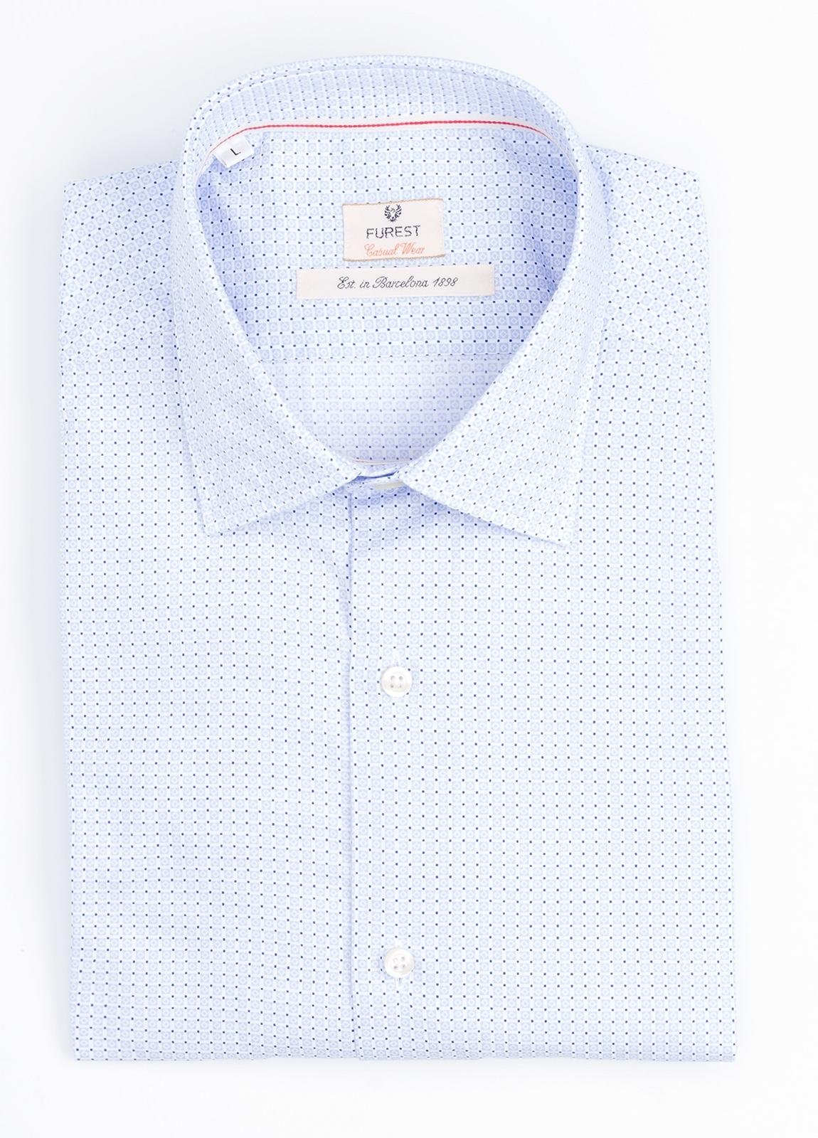 Camisa Casual Wear SLIM FIT Modelo PORTO microdibujo color azul.100% Algodón.