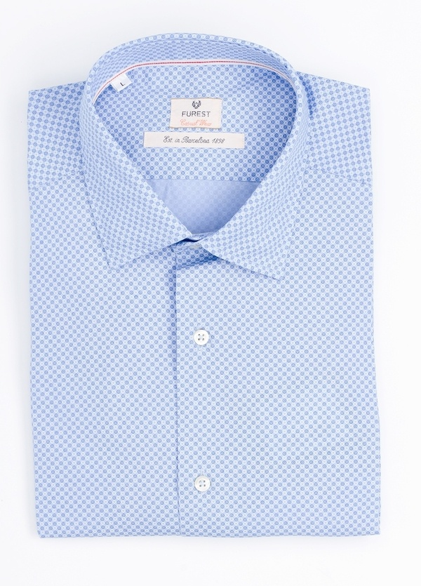 Camisa Casual Wear SLIM FIT Modelo PORTO microdibujo color azul.100% Algodón.