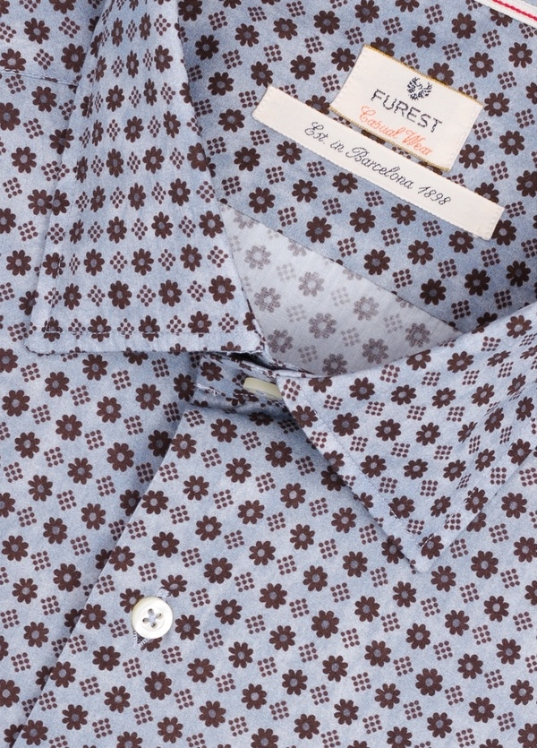 Camisa Casual Wear SLIM FIT Modelo PORTO estampado floral color azul.100% Algodón. - Ítem1
