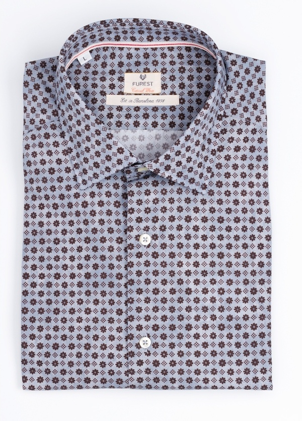 Camisa Casual Wear SLIM FIT Modelo PORTO estampado floral color azul.100% Algodón.