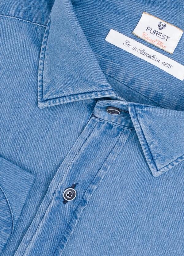 Camisa Casual Wear SLIM FIT Modelo PORTO azul denim con coderas. 100% Algodón. - Ítem1
