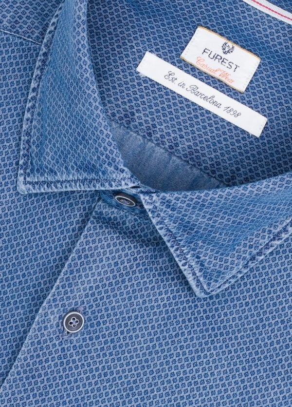 Camisa Casual Wear SLIM FIT Modelo PORTO microdibujo color azul denim. 100% Algodón. - Ítem1