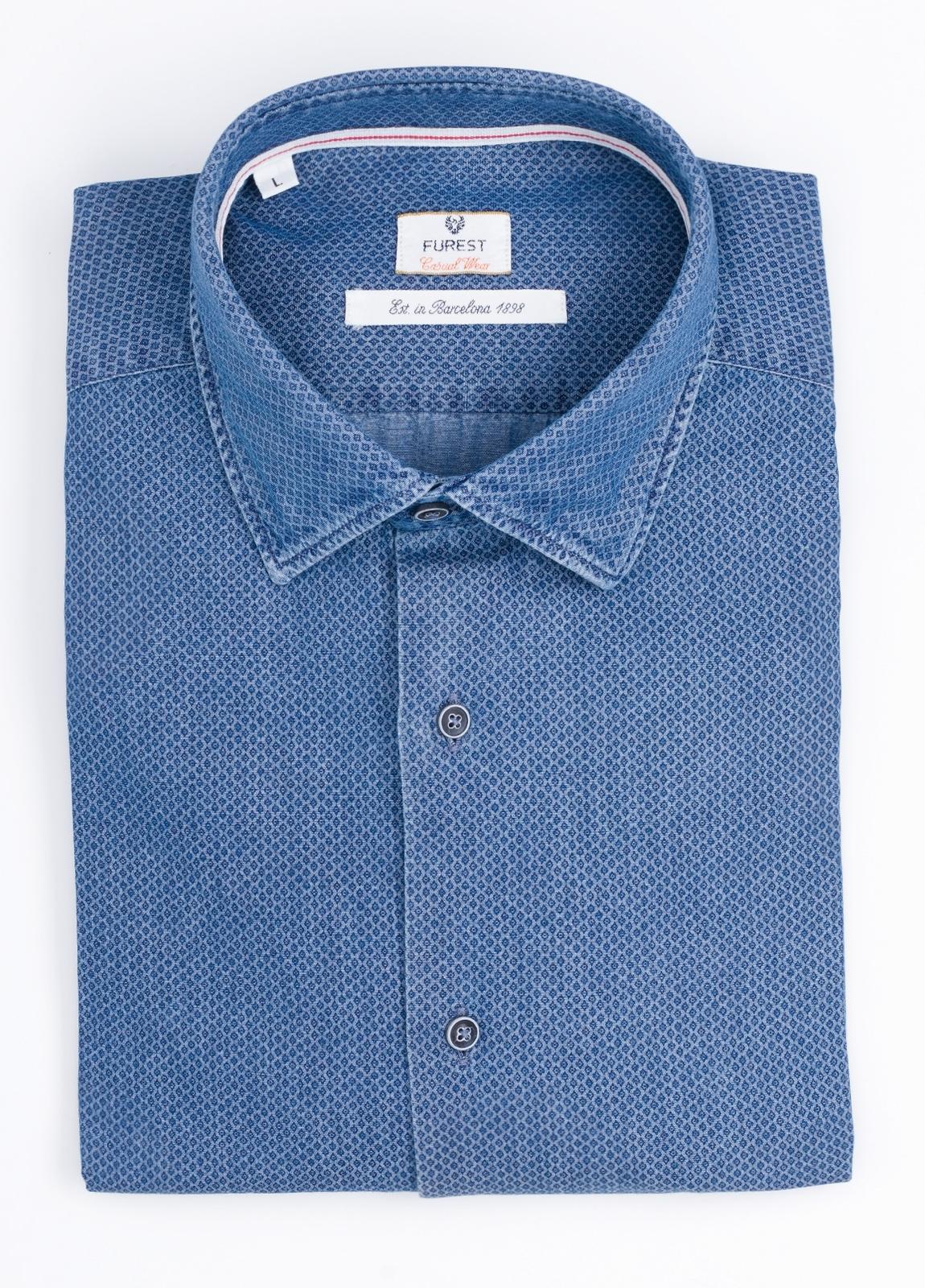 Camisa Casual Wear SLIM FIT Modelo PORTO microdibujo color azul denim. 100% Algodón.