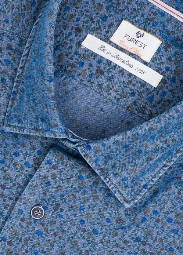 Camisa Casual Wear SLIM FIT Modelo PORTO estampado floral color azul denim. 100% Algodón. - Ítem1