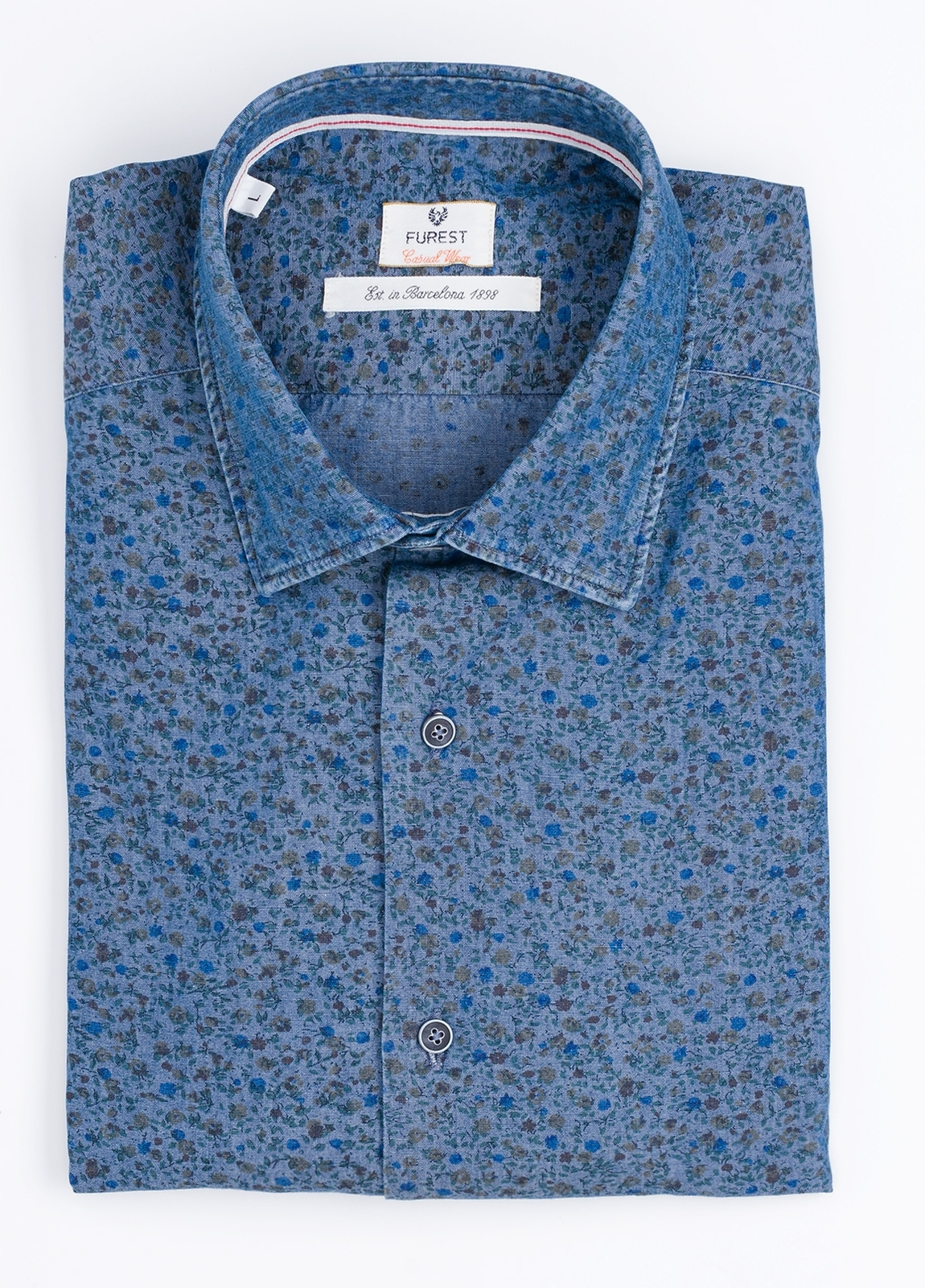 Camisa Casual Wear SLIM FIT Modelo PORTO estampado floral color azul denim. 100% Algodón.