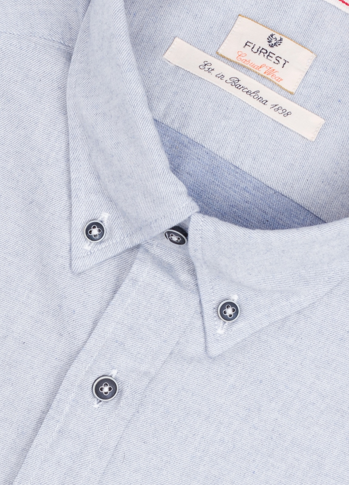 Camisa Casual Wear SLIM FIT Modelo BOTTON DOWN textura color gris con bolsillo en pecho. 100% Algodón. - Ítem1