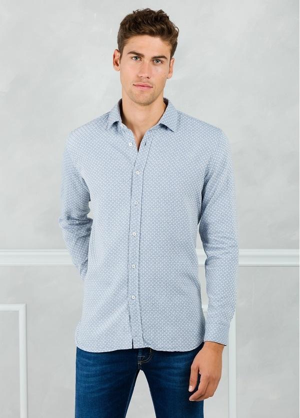 Camisa sport modelo EDDI micro dibujo azul. 100% Algodón lavado.