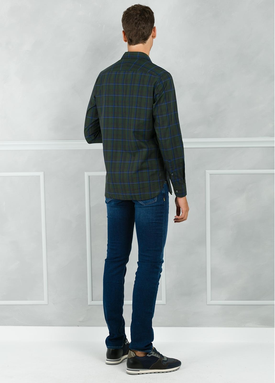 Camisa sport modelo EDDI cuadros color verde. 100% Algodón lavado. - Ítem1