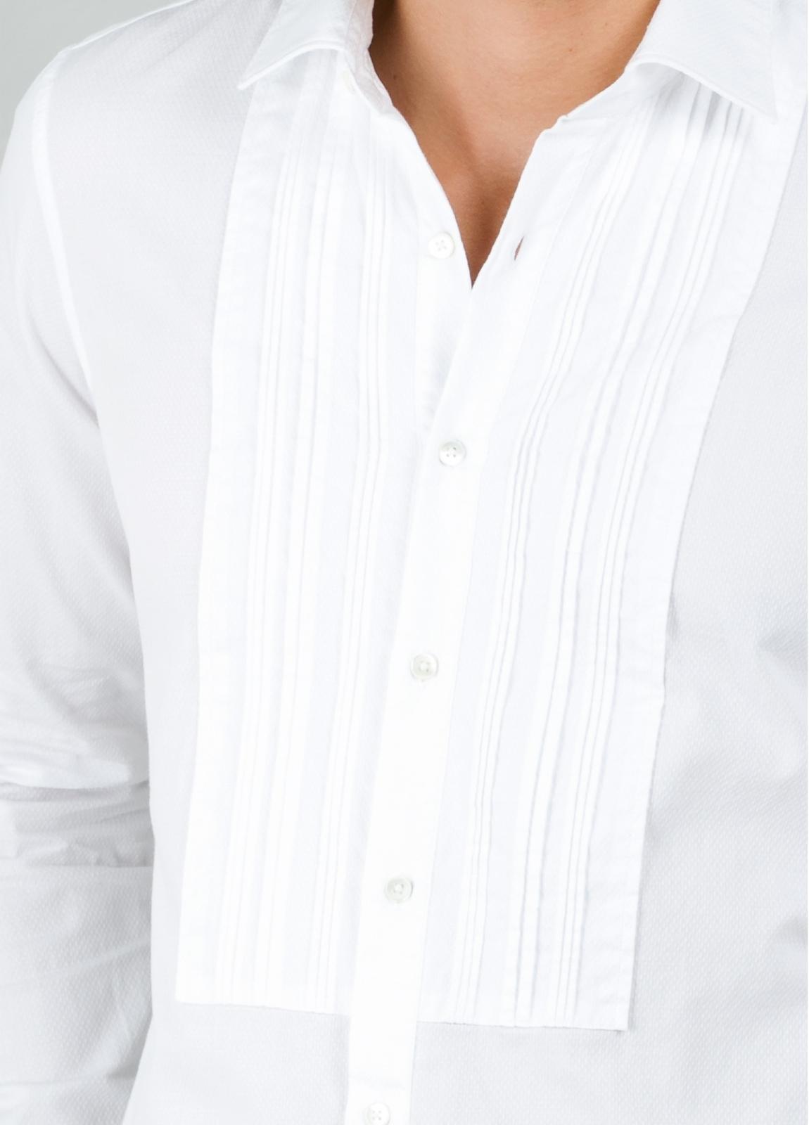 Camisa sport SLIM FIT modelo AIDA con plastrón frontal, color blanco. 100% Algodón. - Ítem3