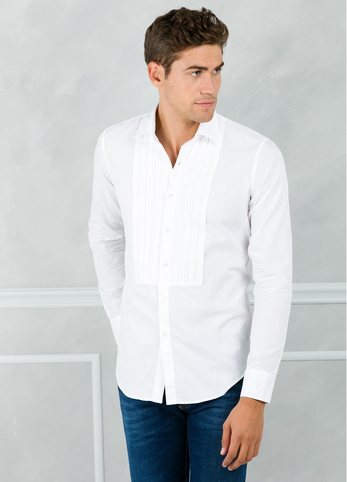 Camisa sport SLIM FIT modelo AIDA con plastrón frontal, color blanco. 100% Algodón. - Ítem2