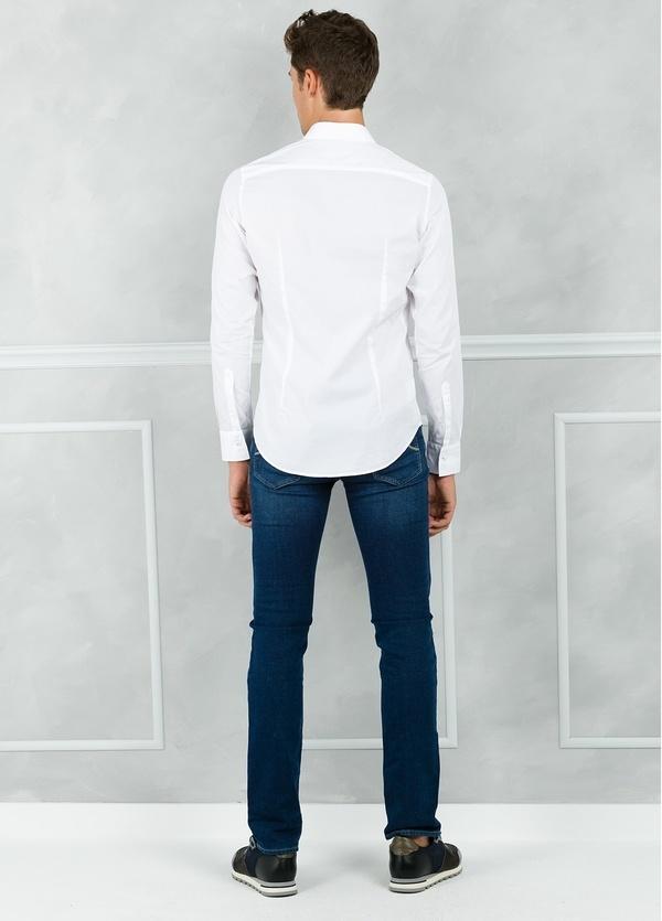 Camisa sport SLIM FIT modelo AIDA con plastrón frontal, color blanco. 100% Algodón. - Ítem1