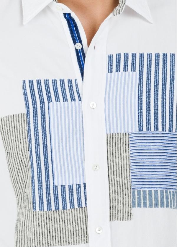 Camisa sport modelo PATCH con dibujo patchwork frontal, color blanco. 100% Algodón lavado. - Ítem1
