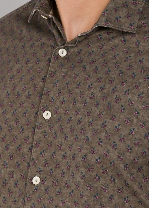 Camisa sport SLIM FIT con estampado floral color marrón. 100% Algodón. - Ítem1