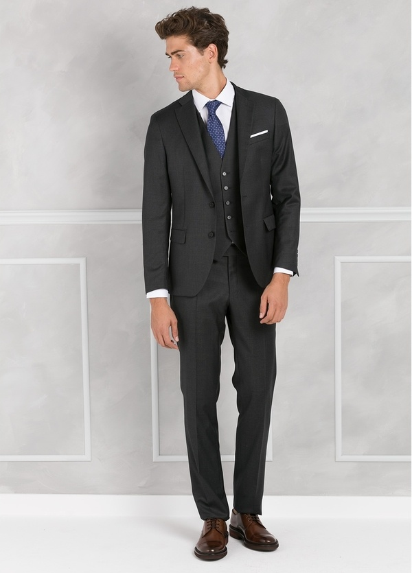 Traje liso SLIM FIT, tejido GUABELLO con chaleco incluido, color gris, 100% Lana.