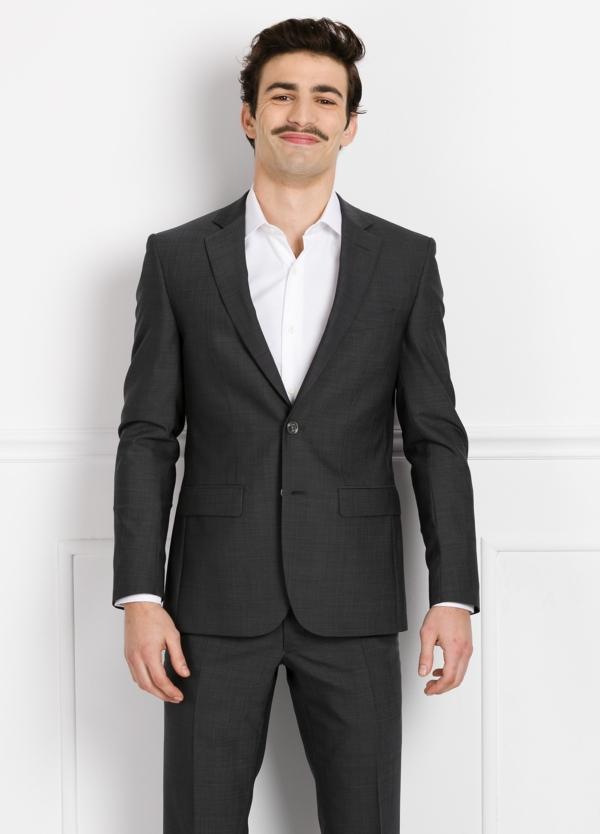 Traje liso REGULAR FIT, tejido COMERO, color gris, 100% Lana fría.