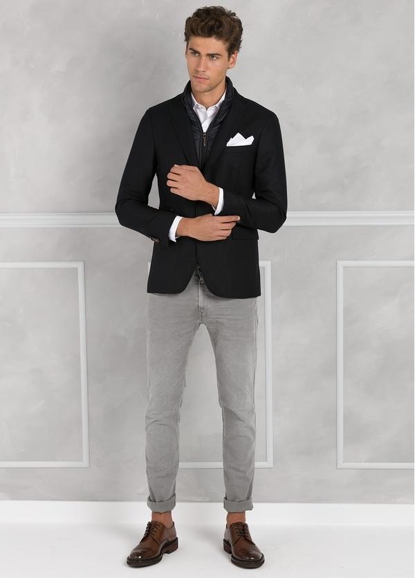 Americana SOFT JACKET Slim Fit con pecherín interior color azul marino. 100% Lana. - Ítem2