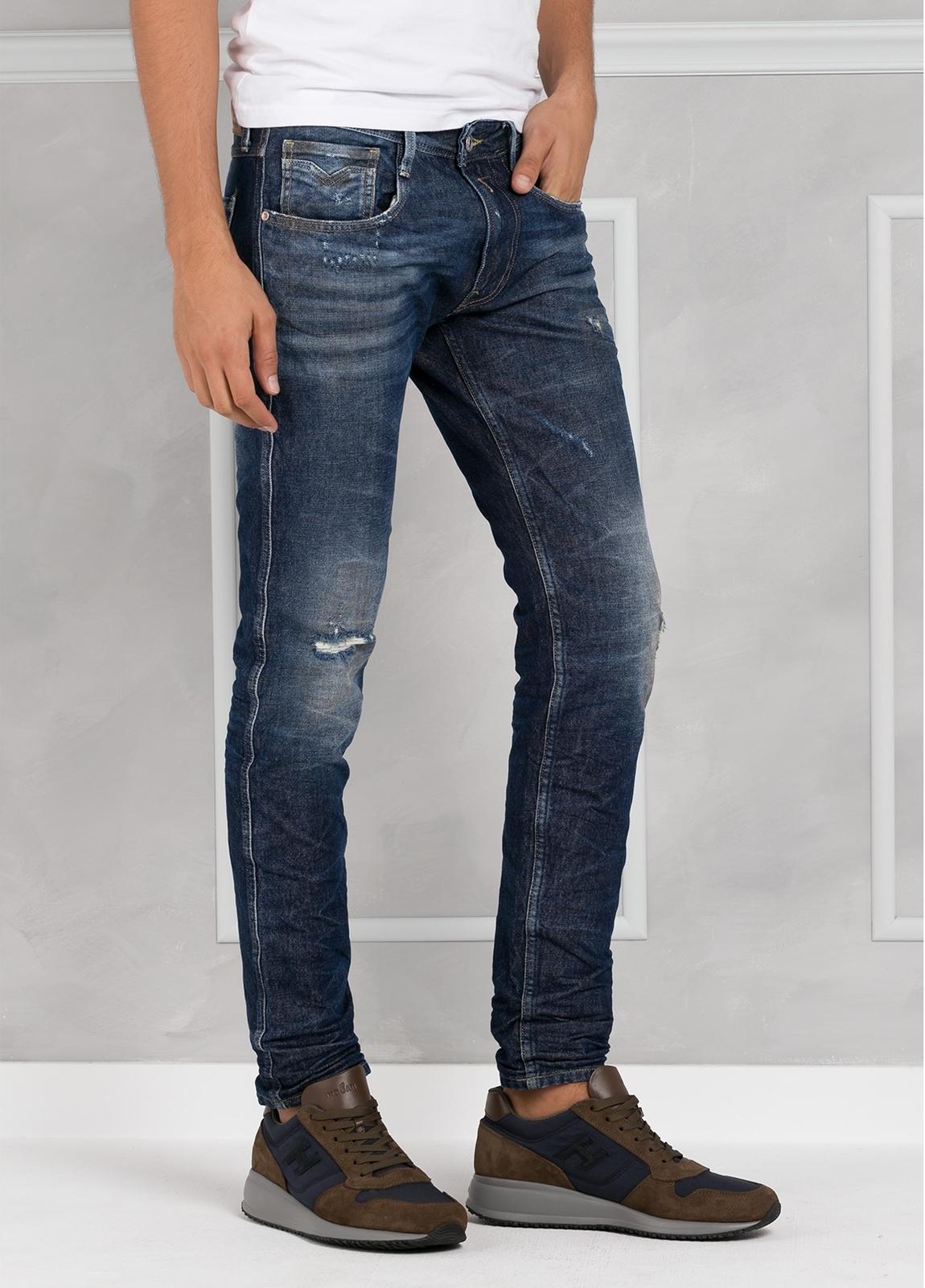 Pantalón tejano 13 oz SLIM M914 AMBAS color azul medio lavado. 99% Algodón 1% Elastán. - Ítem3