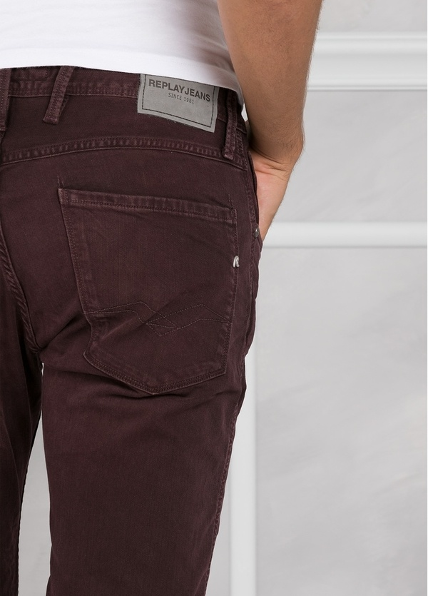 Pantalón tejano 9,5 oz SLIM M914 ANBASS color granate lavado. 98% Algodón 2% elastán. - Ítem3