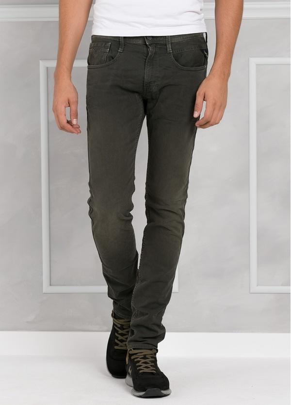 Pantalón tejano 9,5 oz SLIM M914 ANBASS color kaki lavado. 98% Algodón 2% elastán.