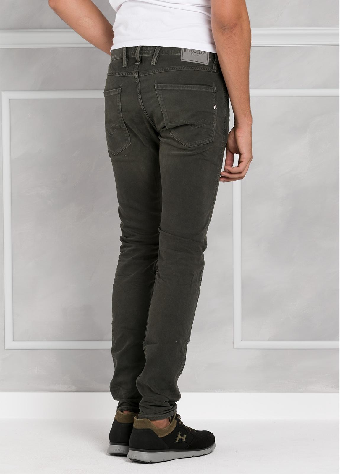 Pantalón tejano 9,5 oz SLIM M914 ANBASS color kaki lavado. 98% Algodón 2% elastán. - Ítem3