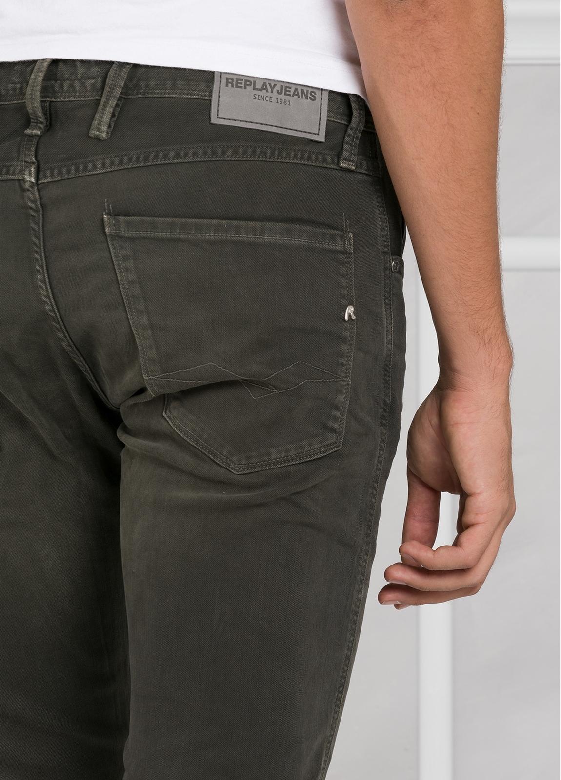 Pantalón tejano 9,5 oz SLIM M914 ANBASS color kaki lavado. 98% Algodón 2% elastán. - Ítem2