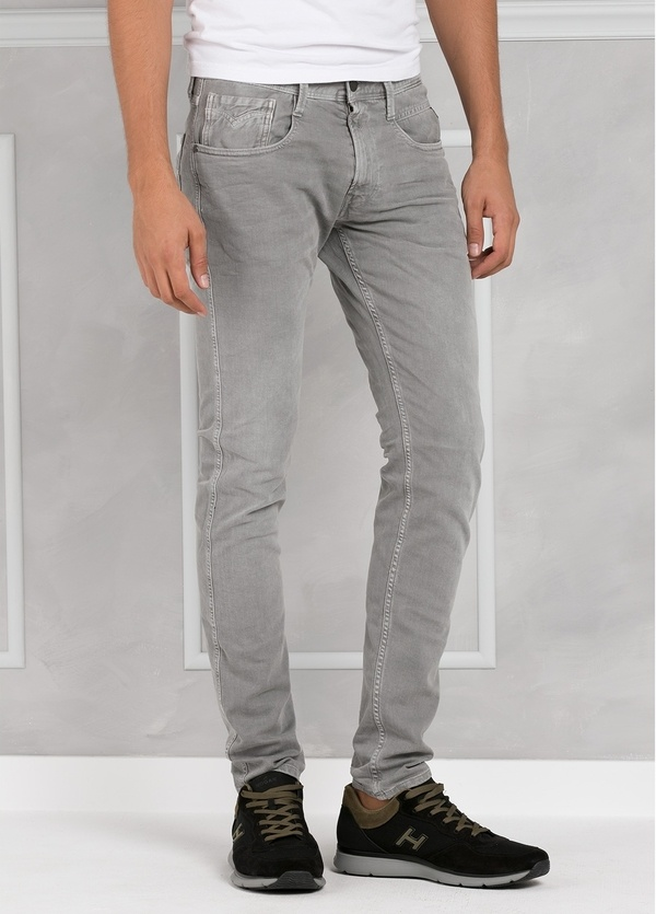 Pantalón tejano 9,5 oz SLIM M914 ANBASS color gris lavado. 98% Algodón 2% elastán.