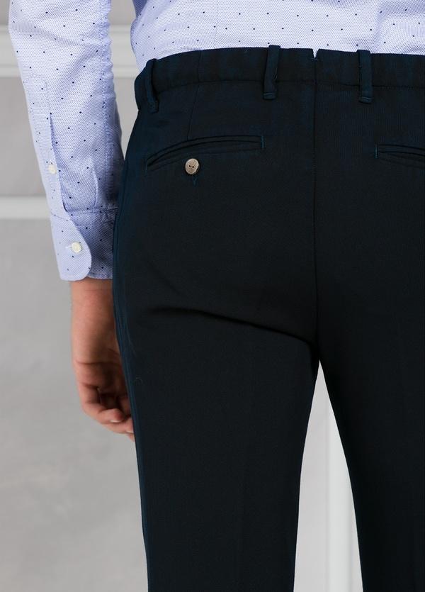 Pantalón sport Slim Fit con pliegues color azul marino. 100% Lana lavada. - Ítem3