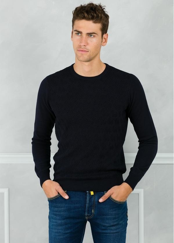 Jersey cuello redondo y dibujo frontal, color azul marino. 90% Algodón 10% Cashmere.