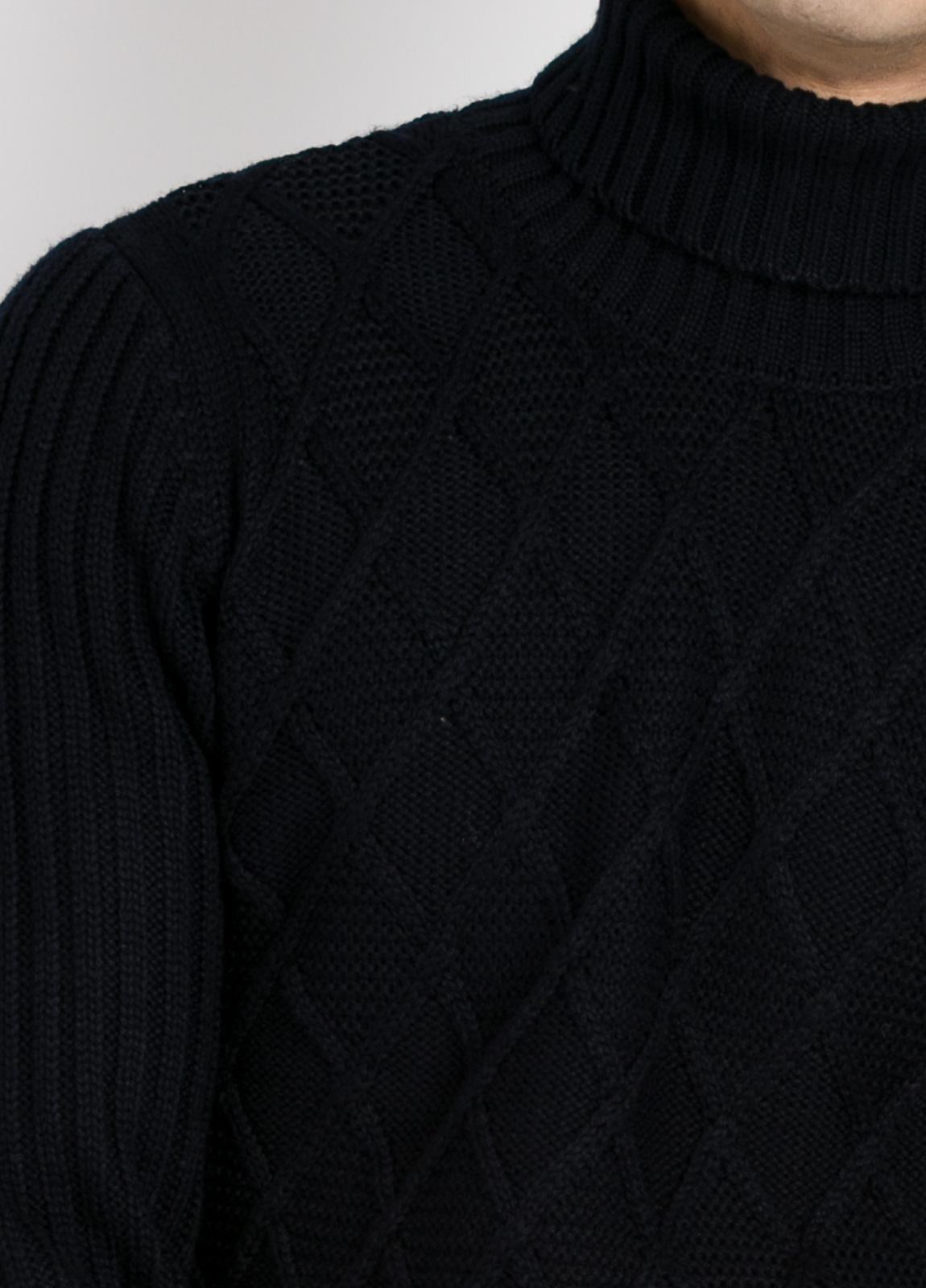 Jersey cuello cisne tejido trenzado y canalé color azul marino. - Ítem1