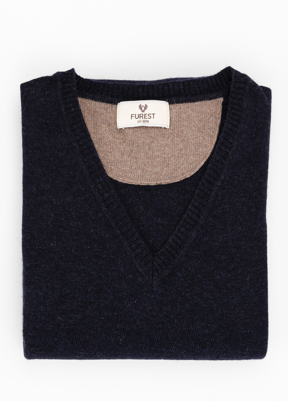 Jersey liso cuello pico color azul marino, 40% lana merino, 20% viscosa, 10% cachemire - Ítem1