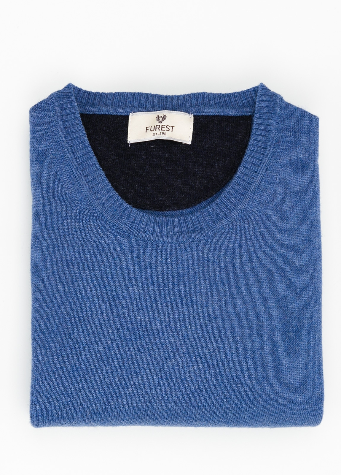Jersey liso cuello redondo color azulón, 40% lana merino, 20% viscosa, 10% cachemire - Ítem1