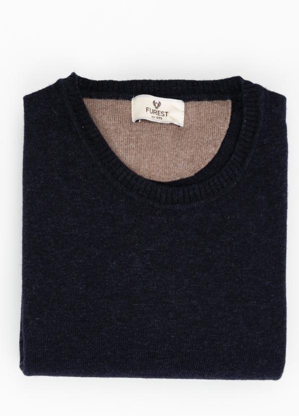 Jersey liso cuello redondo color azul marino, 40% lana merino, 20% viscosa, 10% cachemire - Ítem1