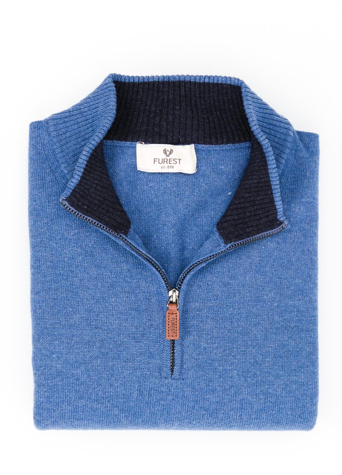 Jersey liso cuello cremallera, color azul, 40% lana merino, 30% viscosa, 10% cachemire - Ítem1
