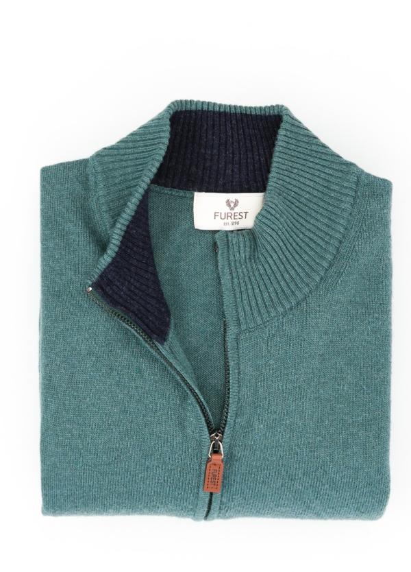 Jersey liso cremallera doble carro, color verde, 40% lana merino, 30% viscosa, 10% cachemire - Ítem1